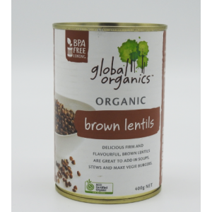 Organic Brown Lentils 400g can