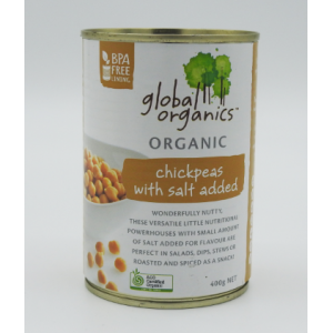 Organic Chickpeas with salt added 400g can